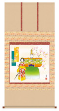 掛け軸 立雛 野川秀華 金襴小紋正絹 尺八横