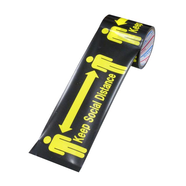 パイオラン 標示テープ H-06-SD 100mm×10m ソーシャルディスタンス 1巻