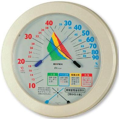 熱中症注意目安付温湿度計直径230mm HO-401