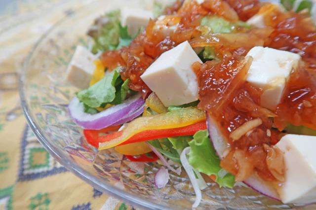 玉ねぎ生姜の豆腐サラダ