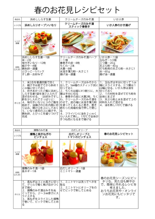 春のお花見レシピ