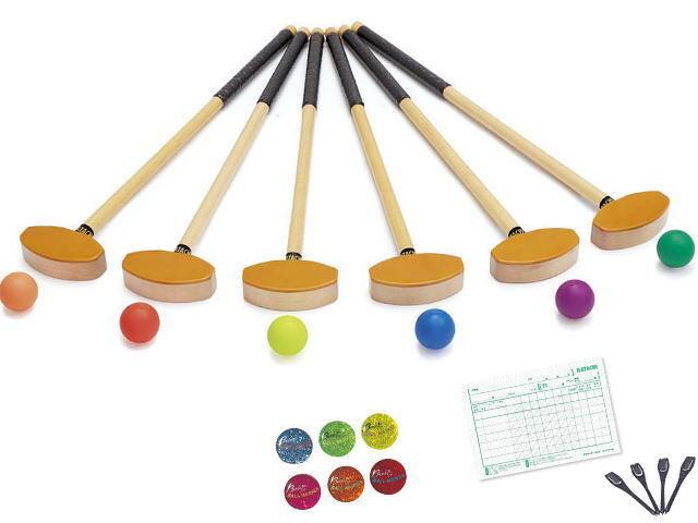 一般サイズグラウンド・ゴルフチームセット、クラブ、ボール、マーカー各6個、スコアカード、鉛筆付、羽立工業、品番BH1120