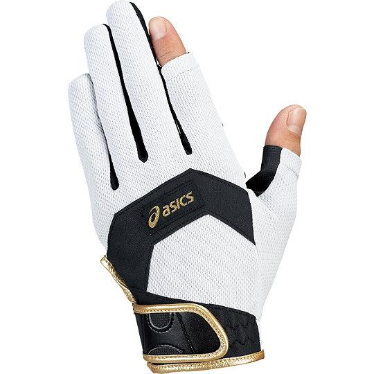 アシックス GGG625 グラウンドゴルフ手袋 UVケアクールグローブ シルバー