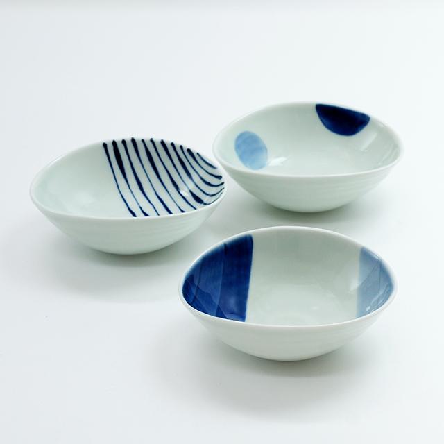 染付変形小鉢(3柄)