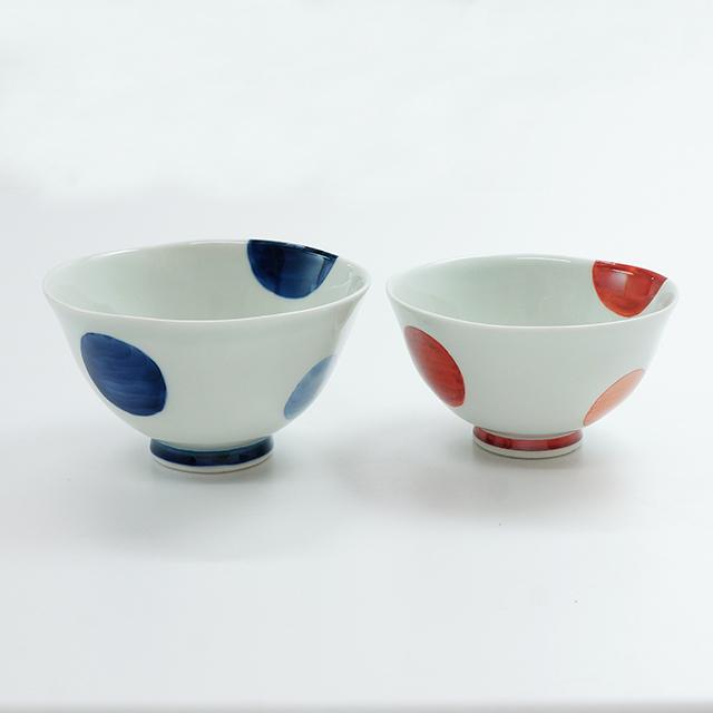 二色丸紋茶碗(大・小)