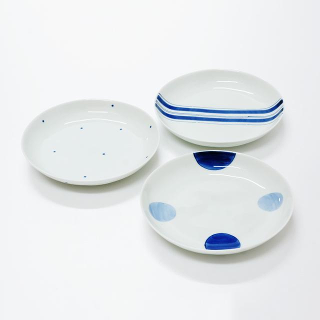 波佐見焼 康創窯 シンプルライン 染付 5寸皿 取皿 二色丸紋 水玉 ライン