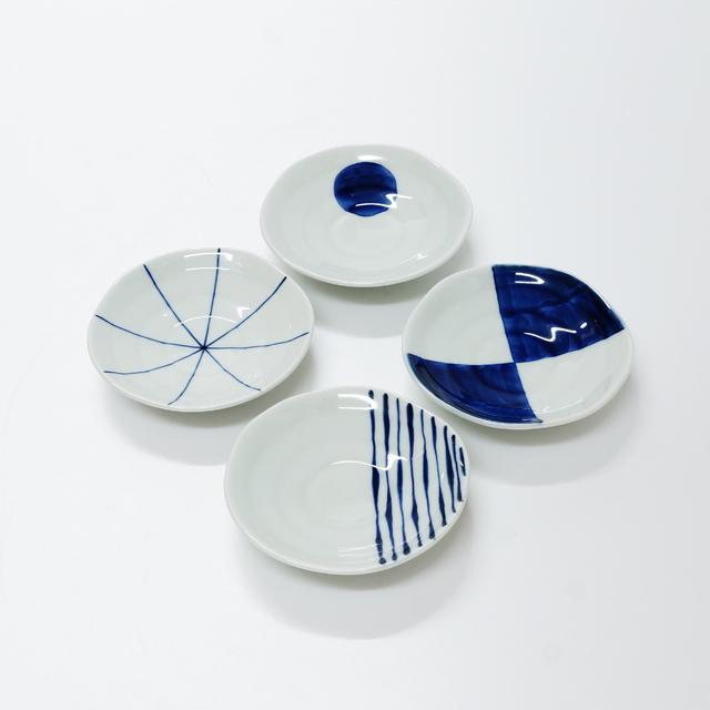 波佐見焼 康創窯 シンプルライン 染付 3寸皿 つれづれ十草 市松 ライン 一丸紋