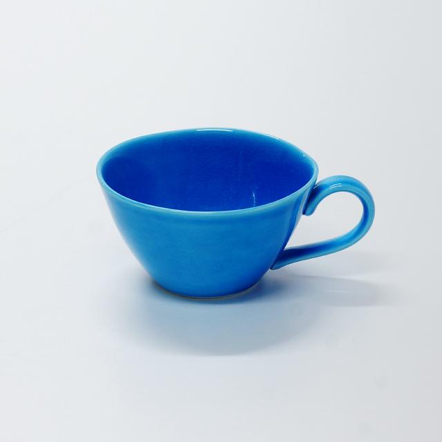 波佐見焼 康創窯 カラーライン スープカップ カップ ブルー