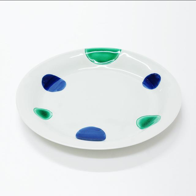 波佐見焼 康創窯 カラーライン 丸皿 プレート 二色丸紋