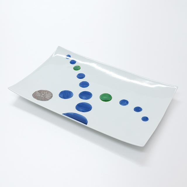 波佐見焼 康創窯 プラチナライン 長角皿 プレート 銀彩流水玉