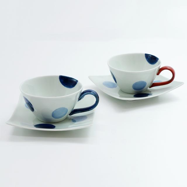 二色丸紋スープカップ&ソーサー