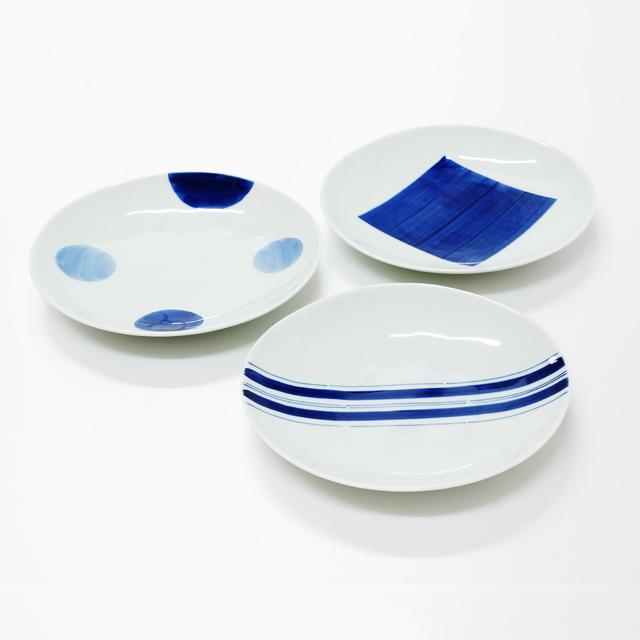 波佐見焼 康創窯 シンプルライン 染付 6寸皿 丸皿 プレート 二色丸紋 角紋 ライン