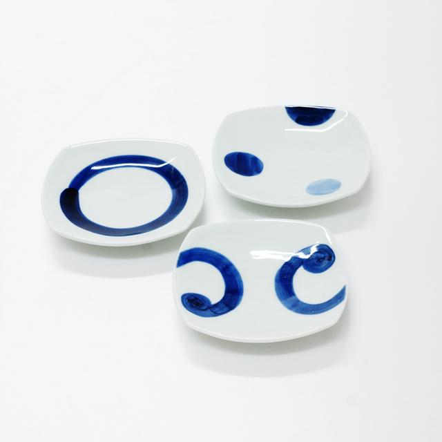波佐見焼 康創窯 シンプルライン 染付 角皿 小皿 うず紋 二色丸紋