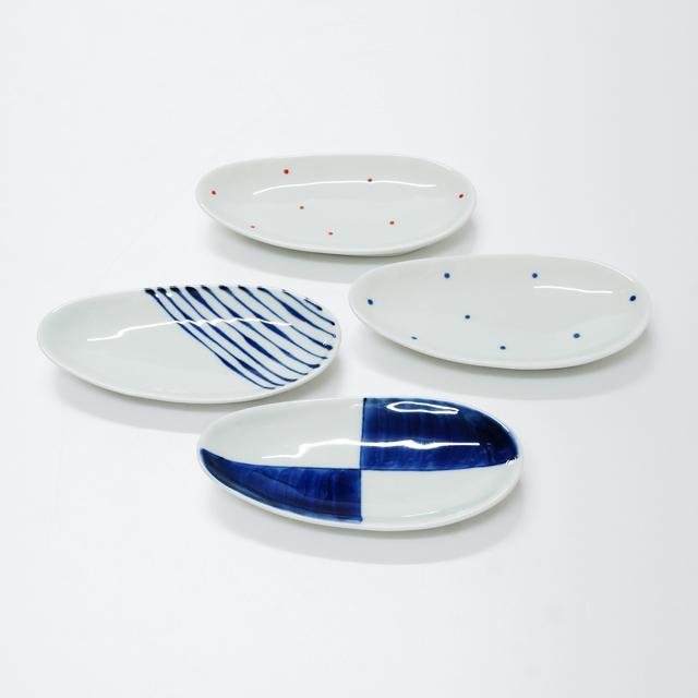 波佐見焼 康創窯 シンプルライン 染付 楕円小皿 市松 水玉 つれづれ 十草