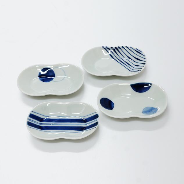波佐見焼 康創窯 シンプルライン 染付 豆皿 小皿 二色丸紋 つれづれ十草