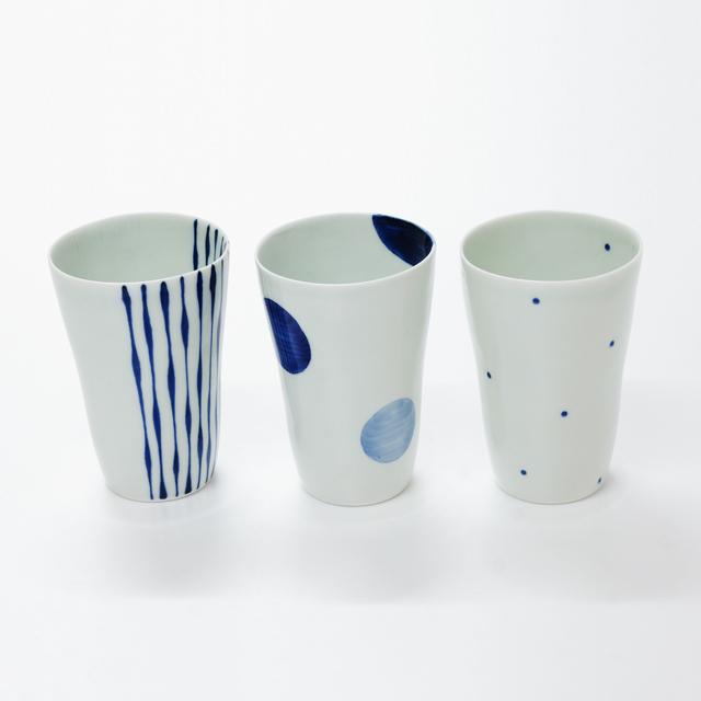 波佐見焼 康創窯 シンプルライン 染付 フリーカップ ビアカップ 二色丸紋 つれづれ十草 水玉