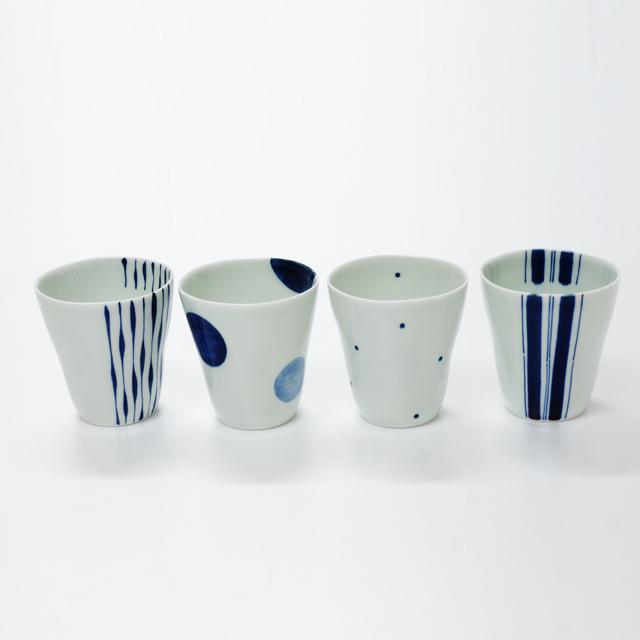 波佐見焼 康創窯 シンプルライン 染付 フリーカップ カップ 二色丸紋 つれづれ十草 水玉 ライン