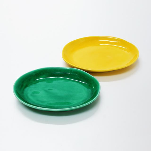 波佐見焼 康創窯 カラーライン 楕円皿 グリーン イエロー