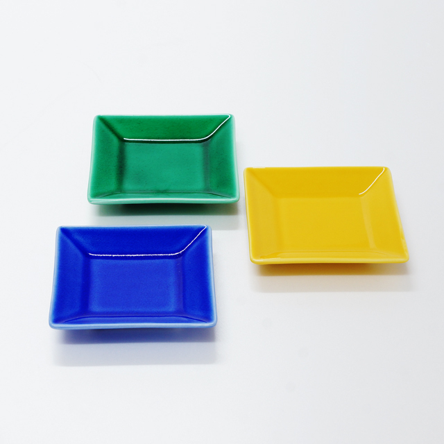 波佐見焼 康創窯 カラーライン 角皿 小皿 ブルー グリーン イエロー