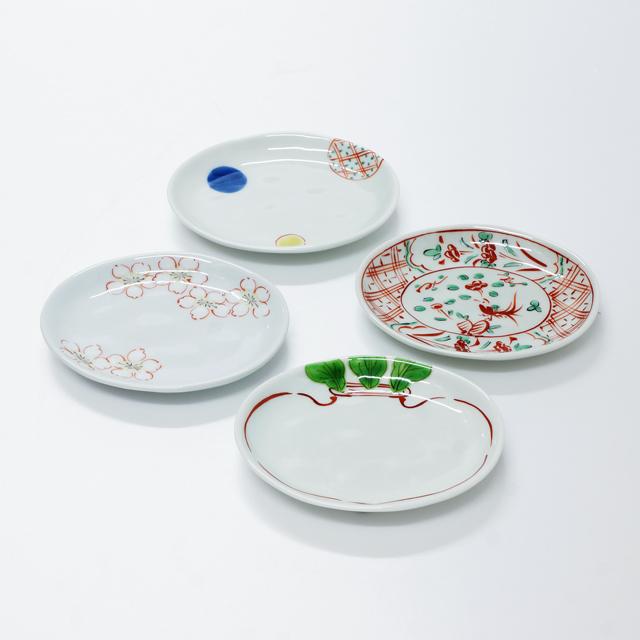 波佐見焼 康創窯 和 雅 ライン 楕円皿 小皿