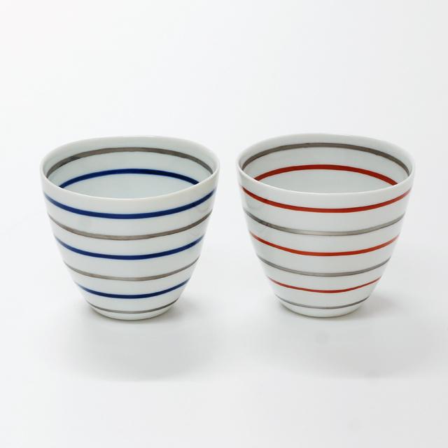 波佐見焼 康創窯 プラチナライン フリーカップ ボーダー ライン