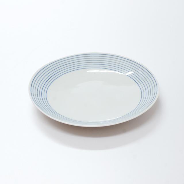 波佐見焼 康創窯 カジュアルライン ボーダー 線段 ライン 丸皿 プレート