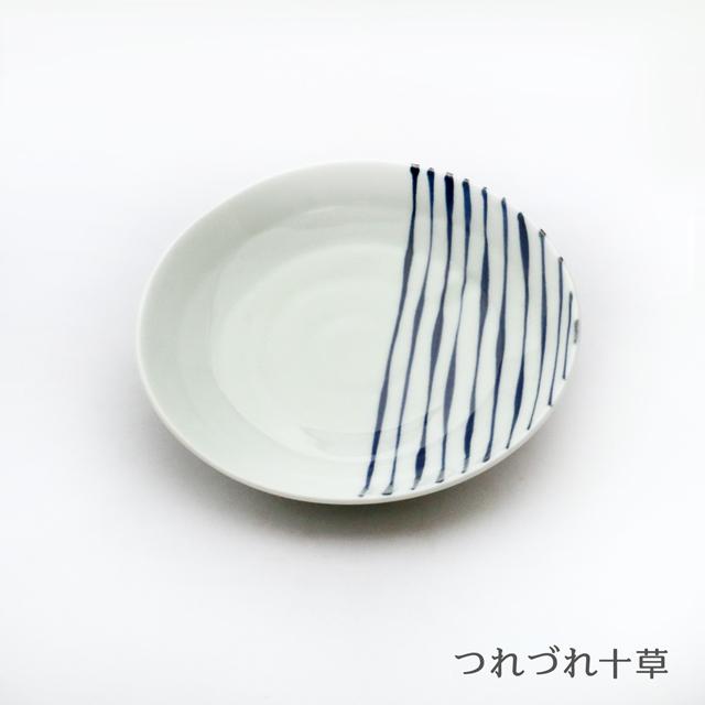 波佐見焼 康創窯 染付取皿(6柄) シンプルライン 染付 つれづれ十草