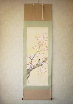 掛け軸 桜に小禽◆堀 高泉