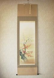 掛け軸 梅に鴬◆林 昂月