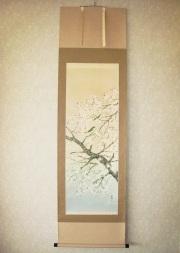 掛け軸 桜に小鳥◆鈴木秀湖
