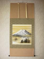 掛け軸 富士◆岩田東嶺 尺八横