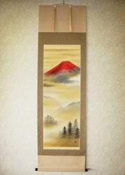 掛け軸 朱映富士◆岩田東嶺