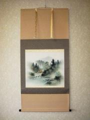 掛け軸 彩色山水◆中野長春 尺八横