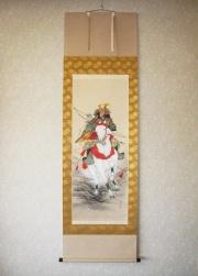 掛け軸 武者(白馬)◆森 雪堂