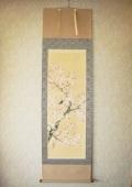 掛け軸 桜に小鳥◆浅井新明