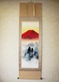 掛け軸 赤富士山水◆高橋長流