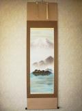 掛け軸 湖上富士◆稲垣雅彦