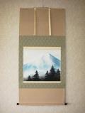掛け軸 霊峰富士◆稲垣雅彦 尺八横