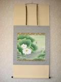 掛け軸 聖蓮花◆前川峰月 尺八横