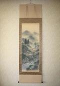 掛け軸 彩色山水◆川村和香