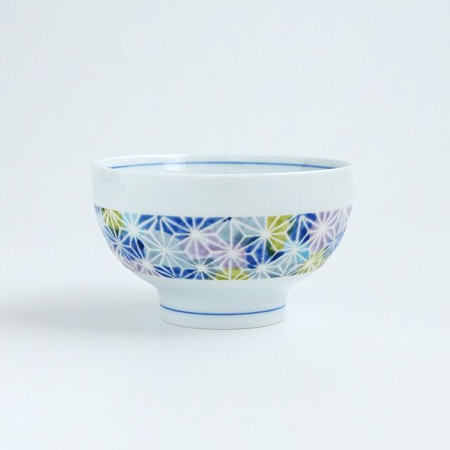 波佐見焼 一誠陶器 ちりめん麻の葉 飯碗(青)