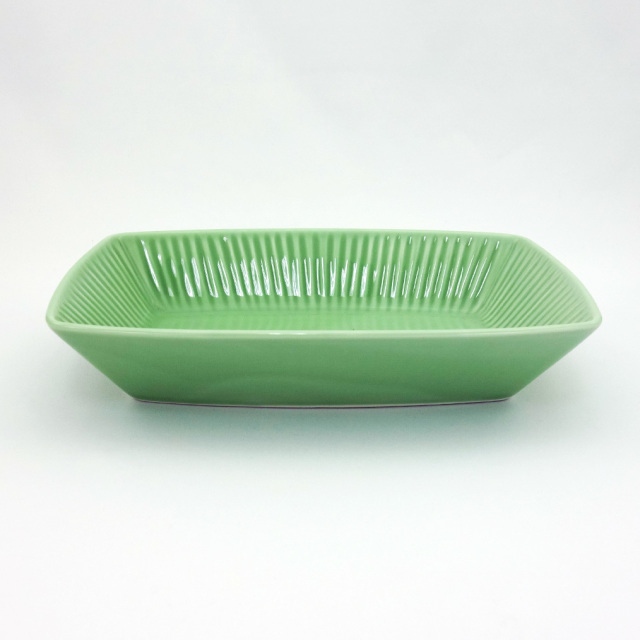 波佐見焼 黄緑釉 しのぎ長角鉢