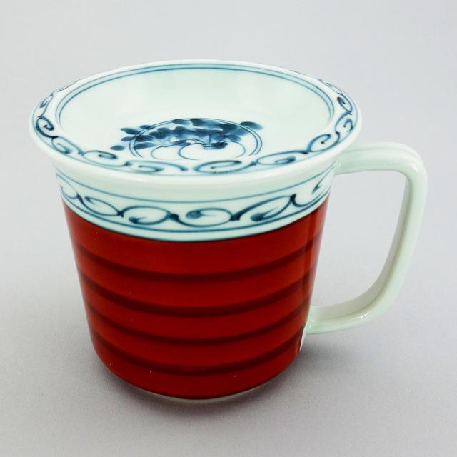 波佐見焼 一誠陶器 呉須巻かぶ 蓋付マグカップ(赤)