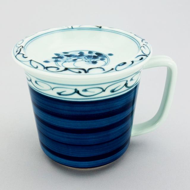 波佐見焼 一誠陶器 呉須巻かぶ 蓋付マグカップ(青)