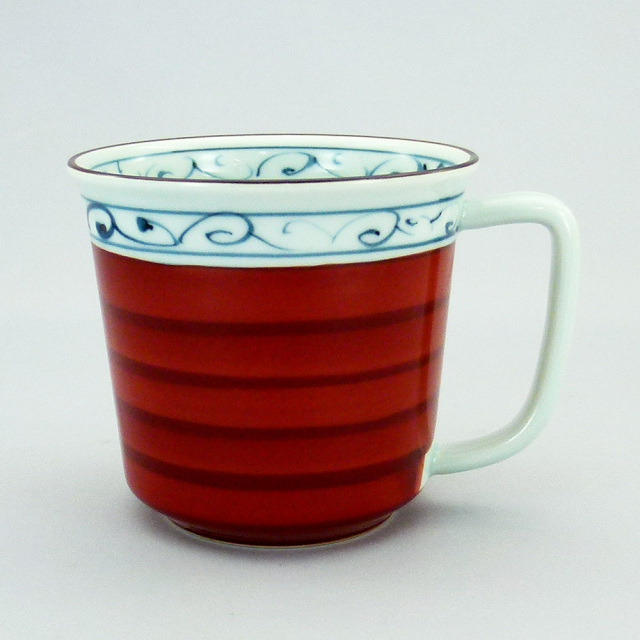 波佐見焼 一誠陶器 呉須巻かぶ マグカップ(赤)