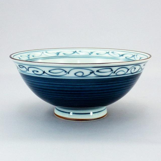波佐見焼 一誠陶器 呉須巻かぶ 飯碗(大)