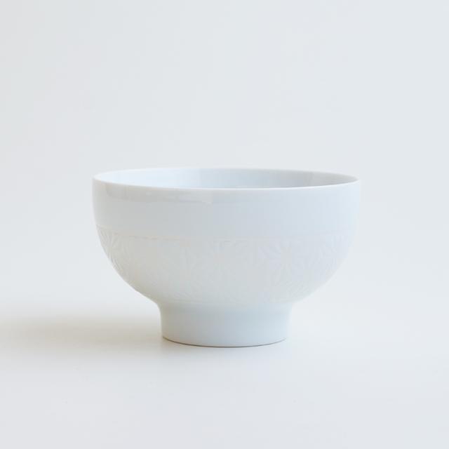 波佐見焼 一誠陶器 色麻の葉 飯碗 大 白
