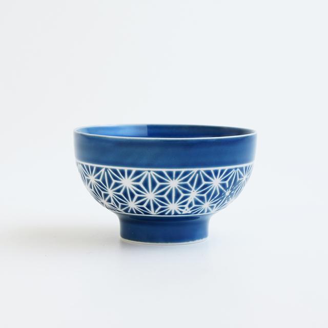 波佐見焼 一誠陶器 色麻の葉 飯碗 大 青