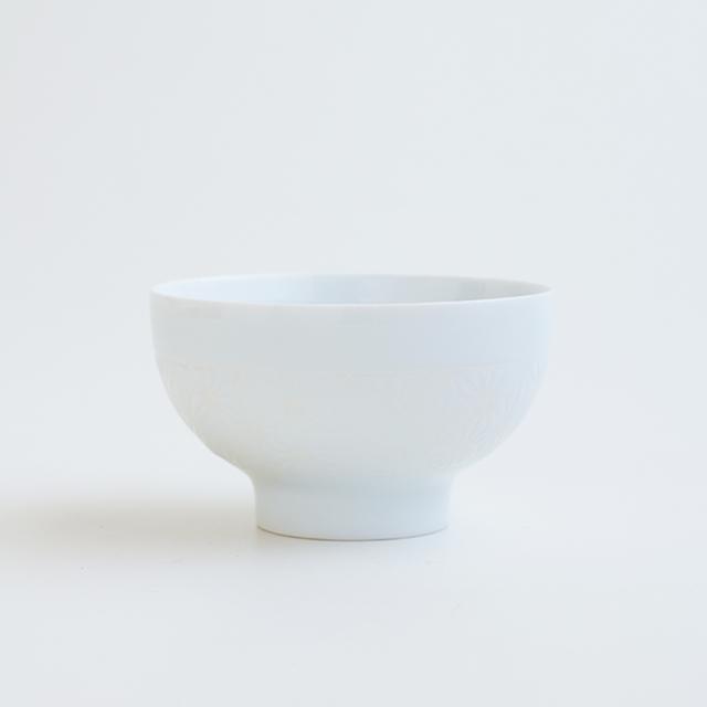 波佐見焼 一誠陶器 色麻の葉 飯碗 小 白