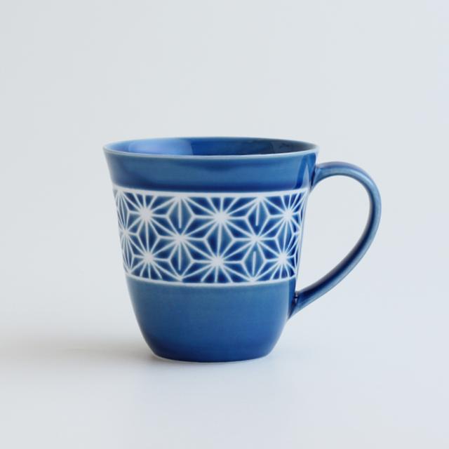 波佐見焼 一誠陶器 色麻の葉 マグカップ 青